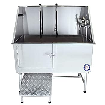 Flying Pig Grooming 50  Stainless Steel Pet Dog Bath Tub with Faucet  Left Door/Right Drain  50 x 27 x 58