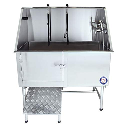 Flying Pig Grooming 50' Stainless Steel Pet Dog Bath Tub with Faucet (Left Door/Right Drain), 50 x 27 x 58