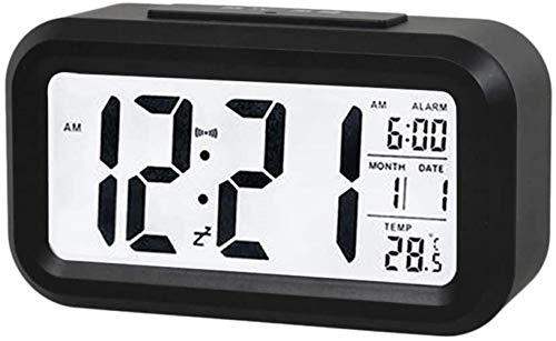 HJTLK LCD Digitaler Wecker Snooze Smart Light Sensor Hintergrundbeleuchtung Uhrzeit Datum Temperaturanzeige Nachtlicht Tischuhr (Blau)