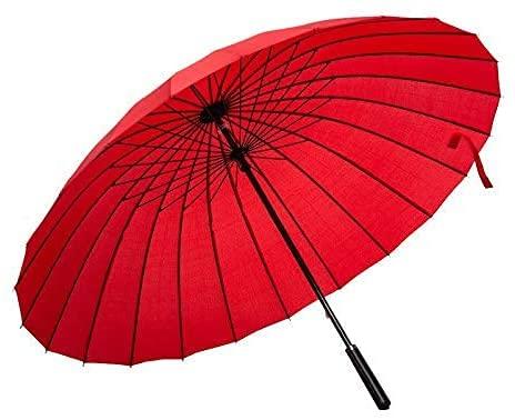 Regenschirm hält starkem Regen und Wind stand 24-Rippen-Golfschirm, rot