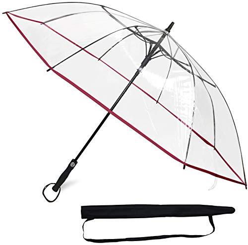 Sternenfunke Regenschirm groß XXL Ø130 cm transparent, Komfort Druckknopf, mit Tragehülle, Automatik, Perfekt als durchsichtiger Partnerschirm oder Hochzeitsschirm - Rand rot