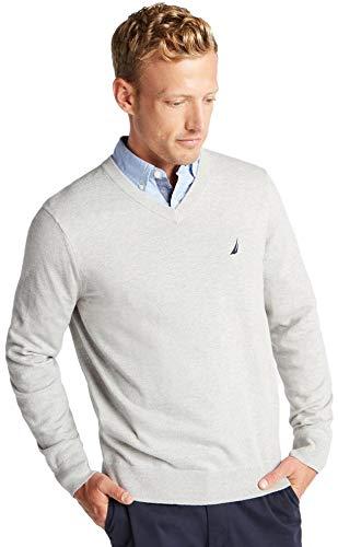 Nautica Men's Classic Fit Soft Lightweight Jersey V-Neck Sweater, Basic Grey, XXL