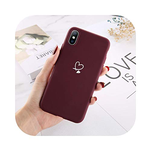 Bunte Liebe Herz Handyhülle für iPhone 11 Pro X XR XS Max SE 2020 6 6S 7 8 Plus 5 SE Candy Color Weiche TPU Rückseite-Wine Red-for iPhone XS Max