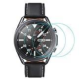CAVN 3-Stücke Kompatibel mit Samsung Galaxy Watch 3 45mm Schutzfolie Panzerglas, Wasserdichtes Glas Schutz Bildschirmschutzfolie Anti-Kratzen Bildschirmschutz Panzerfolie für Galaxy Watch 3 45mm