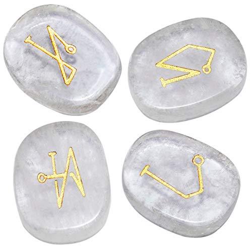 mookaitedecor Chakra Steine Set Graviert Polierte Reiki Chakren Heilsteine Palmsteine für Reiki Balancing