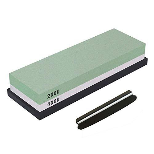 HJCWL dubbelzijdige slijpsteenset met puntenslijper voor messen, combinatie van watersteen, met antislip silicone, 1 stuk