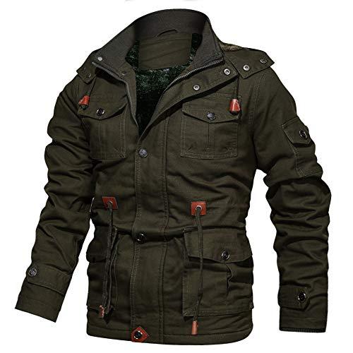 FEDTOSING Winterjacke Herren Innenfleece Militär Übergangsjacke Baumwolle Parka Jacke Cargo Feldjacke Multi Taschen Kapuze(EU Green L