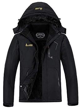 MOERDENG Men s Waterproof Ski Jacket Warm Winter Snow Coat Mountain Windbreaker Hooded Raincoat Black Large