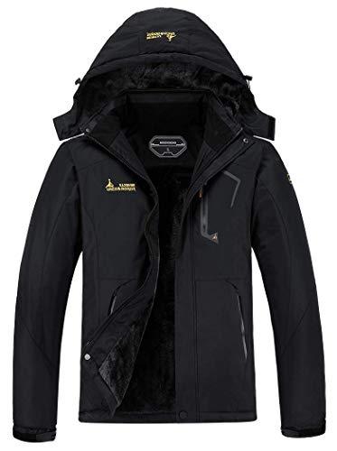 MOERDENG Men's Waterproof Ski Jacket Warm Winter Snow Coat Mountain Windbreaker Hooded Raincoat, Black, Large