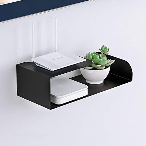 Metal Router Storage Box Hangstelling TV Floating Shelf TV meubel wandplank TV Cabinet TV Console TV Plank for Cable Box Storage Shelf (Color : Black)