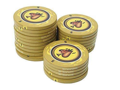 suplaya 25 Pokerchips Keramik 10,5g Fire-Spades hochwertige Markenware einzigartig (dunkelgelb - Wert 5)