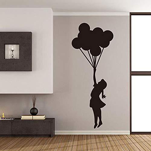 ASFGA Ballon Mädchen Wandtattoo Kinder Mädchen Schlafzimmer Wohnzimmer Wohnkultur Wandaufkleber kreative Klassenzimmer Kindergarten Wandkunst Geschenk 57 x 23 cm