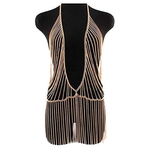 HTABY Bikini BH Kette Gold Harness Halskette Quaste Hohlkörper Kette Halskette Schmuck Körper Zubehör Für Frauen Und Mädchen