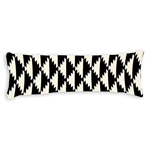Native Diamond Tribal Pattern Black and Cream Ultra Soft Microfiber Long Body Pillow Cover Pillowcases with Hidden Zipper Closure for Kids Adults Pregnant Women, 20' x 54'