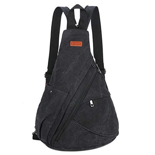 Baosha Canvas Sling Bag Damen und Herren, Leichter Schulterrucksack Sling Rucksack Pack Crossbag Brusttasche Schleuder Tasche XB-10 (Schwarz)