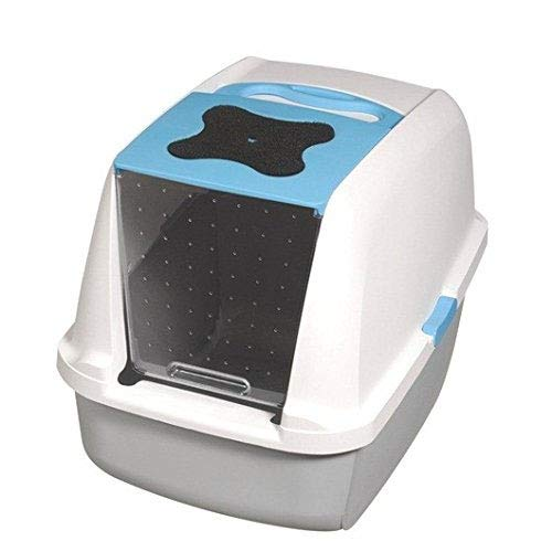 Catit Katzentoilette mit Abdeckung, weiß/grau/blau