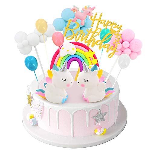 Happy Birthday Unicorn Cake Topper, Unicorn Birthday Party Supplies with Rainbow Balloon Cake Decorations for Girls and Boys Birthday