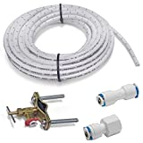 Homewerks 7252-25-14-PTC Ice Maker and Humidifier Installation Kit 1/4-Inch x 25ft Push to Connect Poly Tube Universal Compatibility, Brass