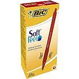 Bic Soft FeelClic Grip Penna a Sfera, a Scatto, Punta Media da 1,0mm, Confezione da 12 Pezzi, Colore Rosso