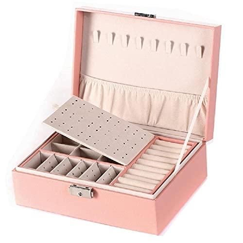 Herafica Protable Travel PU Double Layers Jewelry Box Display Organizer Porta orecchini Portagioie per collane