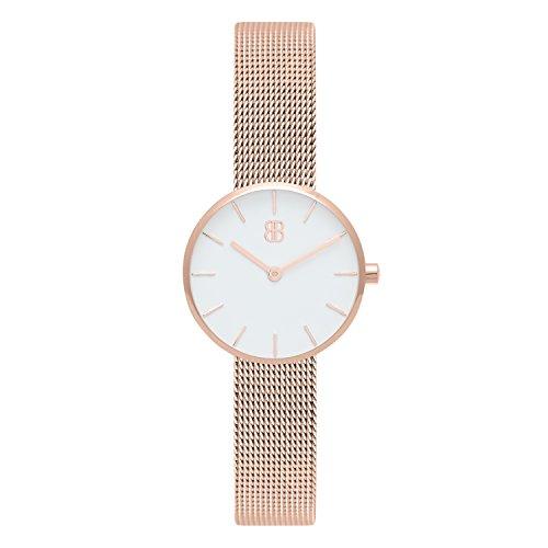 Byron Bond Mark 2 - Elegante Schmale Armbanduhr für Damen - Wasserdicht und aus Edelstahl - Modell: Dean - Rosegoldenes Gehäuse mit weißem Zifferblatt und Maschenband