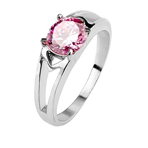 Mianova Damen Ring Verlobungsring Edelstahl poliert mit Zirkonia Solitär Stein in Diamant Form Damenring Trauring Silber Pink Größe 52 (16.6)