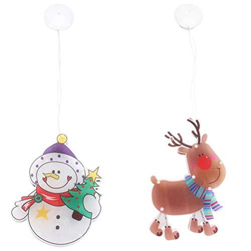 SOLUSTRE 2 unidades de luces de Navidad LED para ventana, con ventosa, reno, muñeco de nieve, decoración para la ventana, decoración de Navidad, decoración navideña, sin batería