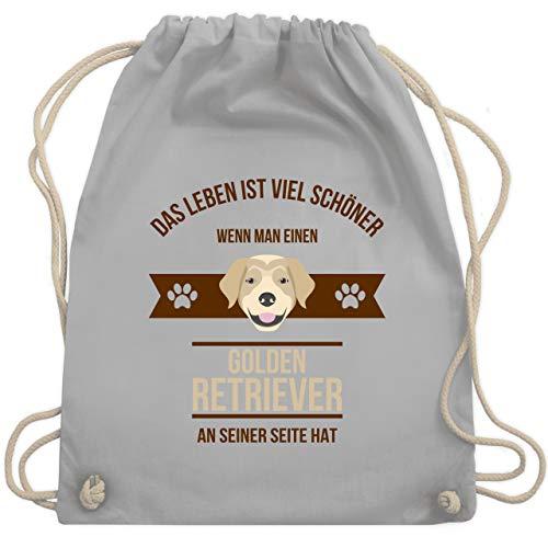 Shirtracer Hunde - Das Leben ist viel schöner wenn man einen Golden Retriever an seiner Seite hat - Unisize - Hellgrau - turnbeutel hund - WM110 - Turnbeutel und Stoffbeutel aus Baumwolle