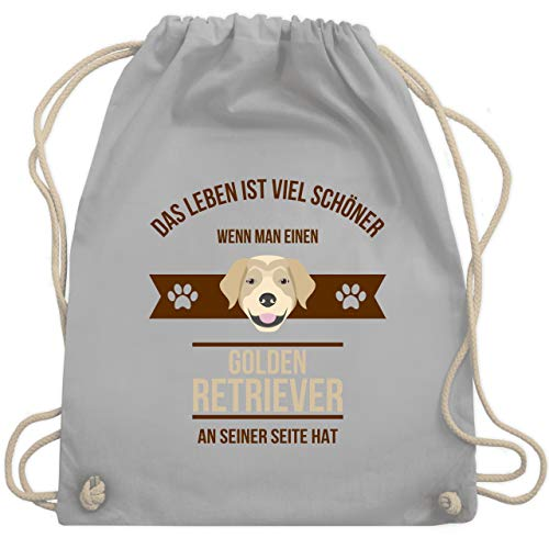 Hunde - Das Leben ist viel schöner wenn man einen Golden Retriever an seiner Seite hat - Unisize - Hellgrau - bag gold - WM110 - Turnbeutel und Stoffbeutel aus Baumwolle
