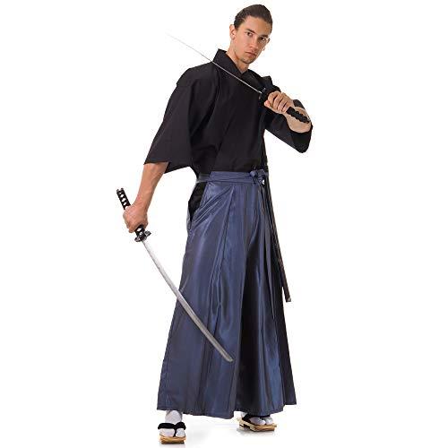 Princess of Asia Japan Samurai Iaido Outfit Set Kendo Gi Kimono & Hakama Hose (Blaugrau & Schwarz)