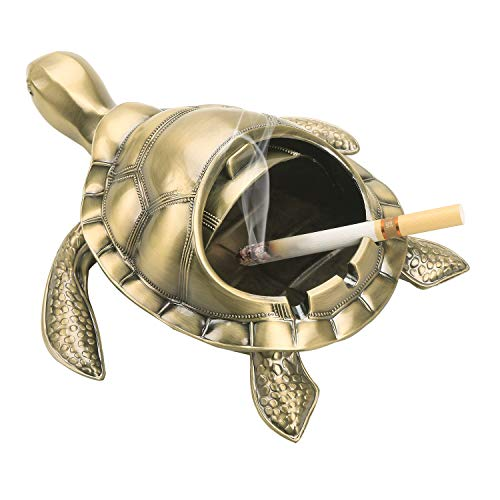 Vintage Turtle Windproof Ashtray with Lid Portable Cigarette Odor Ashtray Holder for Outdoor Indoor Smokers Metal Desktop Smoking Tobacco Ash Tray for Home Office Decoration (Bronze)
