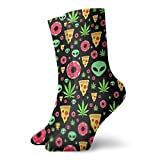 Jhonangel Donuts Pizza Slices And Aliens Unisex Fun Dress Calcetines Colorful Funny Novelty Crew Calcetines 30 cm / 11.8 pulgadas
