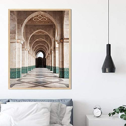 Original Decorations Art for Bedroom Living Room Home Decor Art HD Print Oil Painting on Canvas, Islamic Architecture Moroccan Door (16X24,Framed)