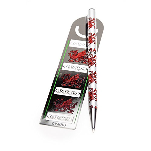 Keltische Lands Welsh Dragon Kleur Bladwijzer & Pen Set
