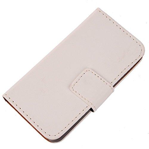 Gukas Design PU Leder Tasche Hülle Für Archos 50 Helium / 50b Helium 4G Brieftasche mit Kartenfächer Schutzhülle Protektiv Hülle Cover Handy Etui Skin (Farbe: Weiss)