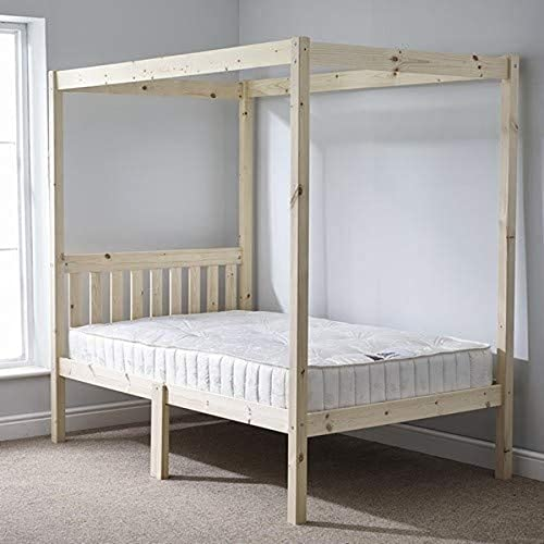 Four Poster Bed 5ft Kingsize Solid Natural Pine 4 Poster