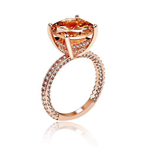 Uloveido Rose Gold Plated Cushion Cut Runde Orange Gelb 54 Crystal Halo Ringe Hochzeit Engagement Jahrestag Geschenke für Frauen (Größe 57) RA0415