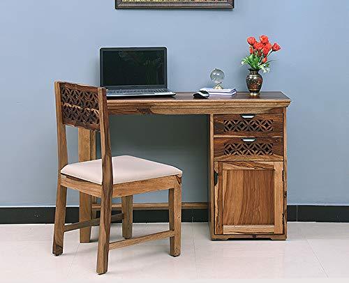 Furniselan Sheesham Wood Study Desk; Writing Desk; Office Desk with Chair (Rustic Teak Finish Finish,Rustic Teak), Medium (VAP-1590)