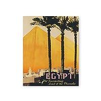 手のひら木素晴らしいピラミッドポスターそして印刷夏風景壁アートパネル絵画インテリアヴィンテージキャンバスプリントエジプト旅行写真ホーム装飾30x40cmいいえフレーム