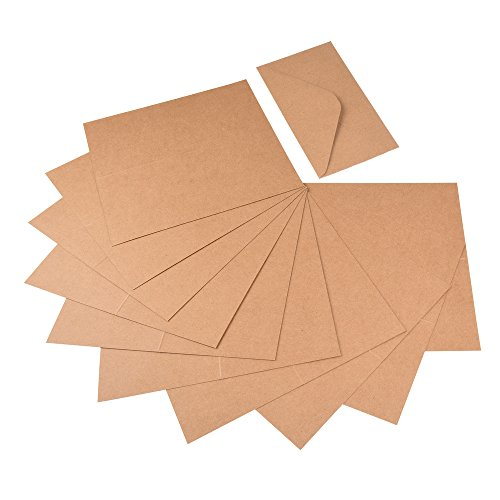 60 tlg. Set Kraftpapier Klappkarten und Briefumschläge aus Naturkarton für Gruß- und Glückwunschkarten, Einladungskarten, Weihnachtskarten zum kreativen Selbstgestalten
