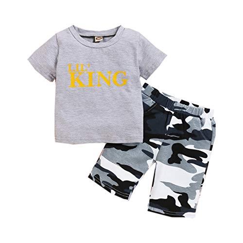 Camiseta de Manga Corta con Estampado de Letras Ropa de recién Nacido + Shorts de Camuflaje Ropa de bebé Verano niño 0-6 Meses