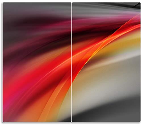 Herdabdeckplatte / Spritzschutz aus Glas, 2-teilig, 60x52cm, für Ceran- und Induktionsherde, Schwarz rot pink - Abstraktes Design