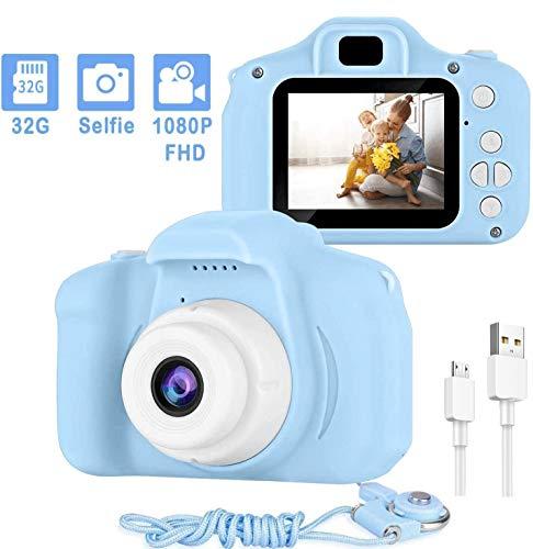 Kinderkameras, Digitalkamera 2,0 Zoll für Kinder mit 32 GB TF-Karte 1080P Videorecorder & Lanyard Anti-Drop-Design Mini-Spiegelreflexkamera Unterstützt Kleinwild