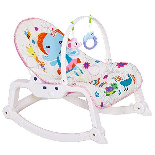 HOMCOM Babywippe Babywiege vibrierende Schaukelwippe 2 in 1 Schaukelsitz mit Musik Fest- und Schaukelstuhl-Modi für 0-6 Monate ABS Elefantenmuster 51,4 x 68,6 x 55,9 cm