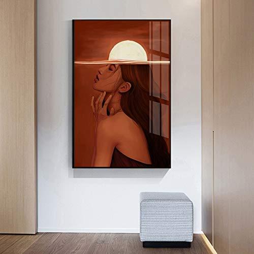 SDFSD Modern Sun Canvas Painting Modern Girl Poster voor woonkamer gang mode Red Brain Girl Wall Art Nordic 50 x 75 cm