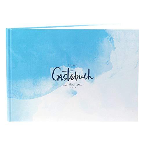 Gästebuch Hochzeit, A4, Hochzeitsglückwünsche, Hochzeit Gästebuch, Glückwünsche zur Hochzeit, Sprüche zur Hochzeit, Marine, blau