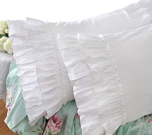 Buy Discount Queen's House Vintage Ruffle Pillow Sham White Pillowcase King Size-1 Piece,Z