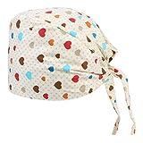 Artibetter Gorro Quirúrgico de Algodón Estampado de Corazón Ajustable Médico Enfermera Cirugía Bouffant Hat Sombrero de Trabajo Enfermera Protector de Cabeza para Hospital Médico (Color Variado)