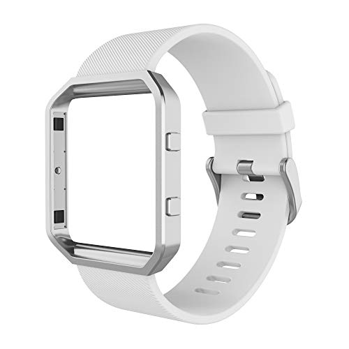 Simpeak Sport Band Compatible with Fitbit Blaze Smartwatch Sport Fitness, Silicone Wrist Band with Meatl Frame Replacement for Fitbit Blaze Men Women, Small, White Band+Silver Frame