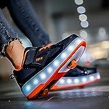 Niños Niñas Patines De Ruedas LED Zapatos Con Ruedas Zapatillas De Deporte Con Luz LED Zapatillas De Skate Técnicas De Doble Rueda Zapatillas De Gimnasia Con Carga USB B,41